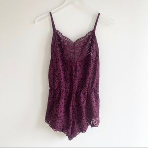 Victoria Secret Purple Mesh Lingerie Lace Romper